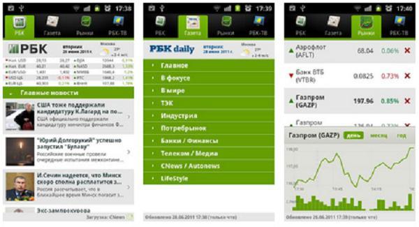 Универсальное приложение РБК для Android